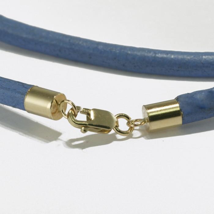 4 mm, 14K guld og blå læderhalskæde.