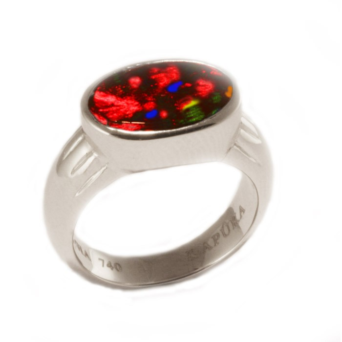 1.30 ct solid black opal & 18K white gold ring