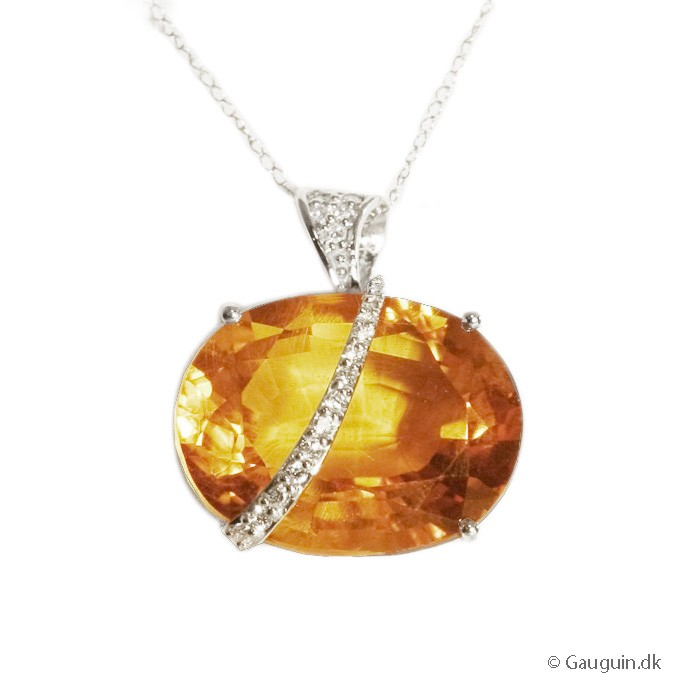 28,67 ct. Golden Citrine og diamant vedhæng