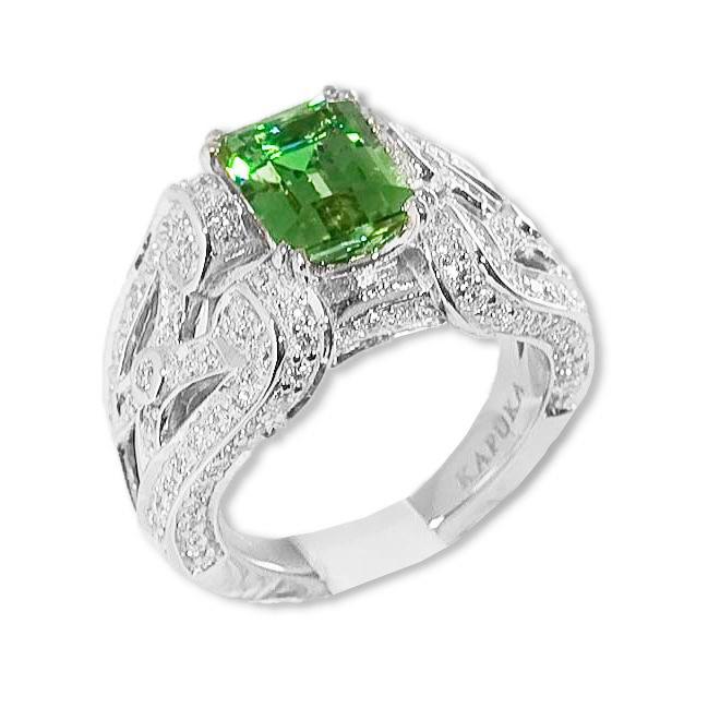 4,20 ct. color change zultanite, diamond & 18K ring