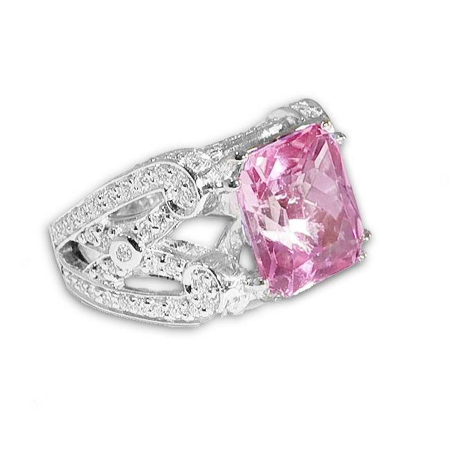 9,00 ct. kunzite, diamond & 18K white gold ring