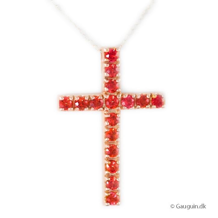 Rubin og 18KT rosé guld kors