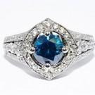 2,35 ct blå & hvid diamantring VVS/G-18K