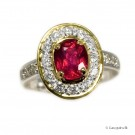 2,64 ct Pigeon-Blood Red rubin og diamant ring