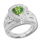 4.04 ct. demantoid garnet, diamond & 18K ring